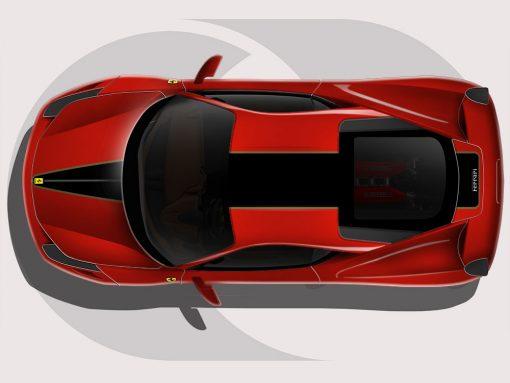 Ferrari 458 Black and Gold Roof Graphics