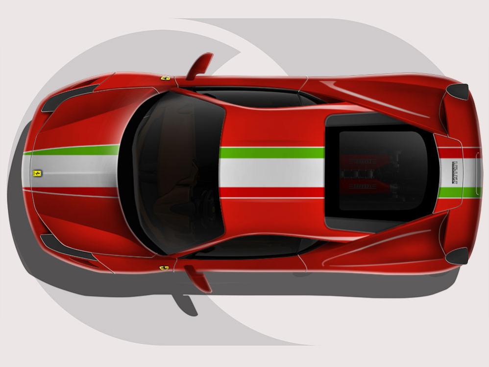 Ferrari 458 Italian Stripe Roof Graphic