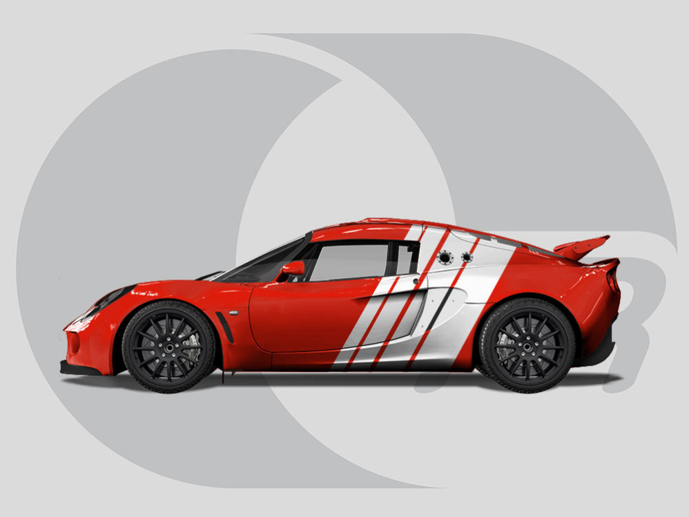 Lotus Exige Side Graphics Race Quad Stripes