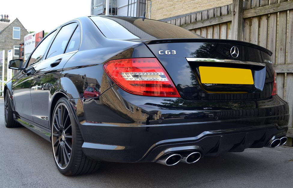 Mercedes C63 AMG Carbon Dipped Rear Diffuser Outside