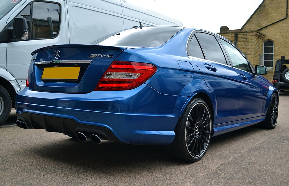 Mercedes C63 Amg Full Wrap In Daytona Blue Vinyl