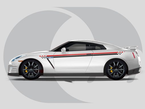 Nissan GTR Side Graphics Checquered Lines