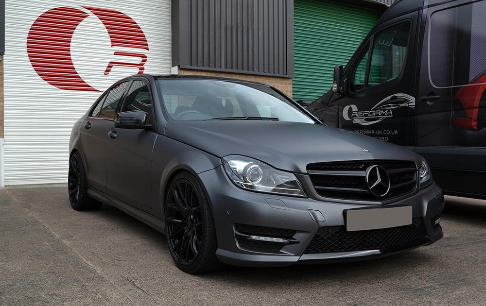 Mercedes c class matte grey metallic wrap reforma uk for Mercedes benz matte paint