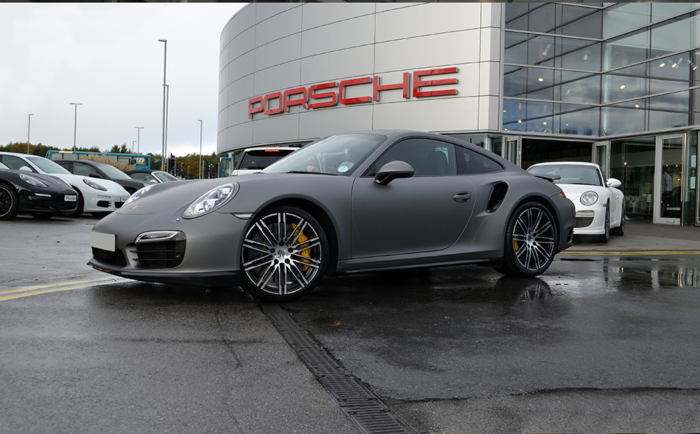 Porsche 911 Matte Grey Front Dealership