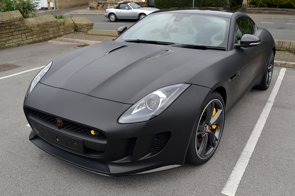 Jaguar F Type Matte Black Angled Outside
