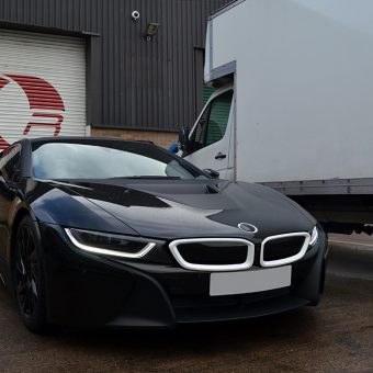 BMW i8 Wrapped Matte Black Front Angled