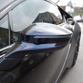 BMW i8 Wrapped Matte Black Mirror