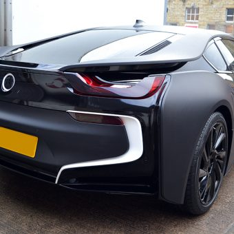 BMW i8 Wrapped Matte Black Rear Angled