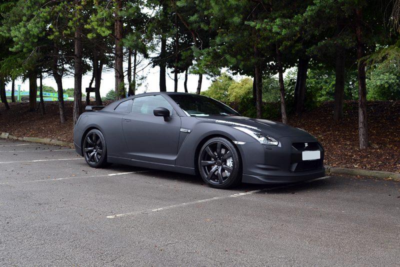 Nissan GTR Matte Black Wrap Angled Front
