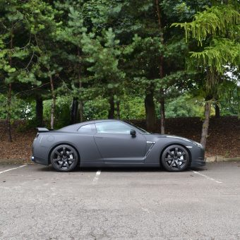 Nissan GTR Matte Black Wrap Side