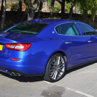 Maserati Quattroporte Wrapped 3M Cosmic Blue Rear
