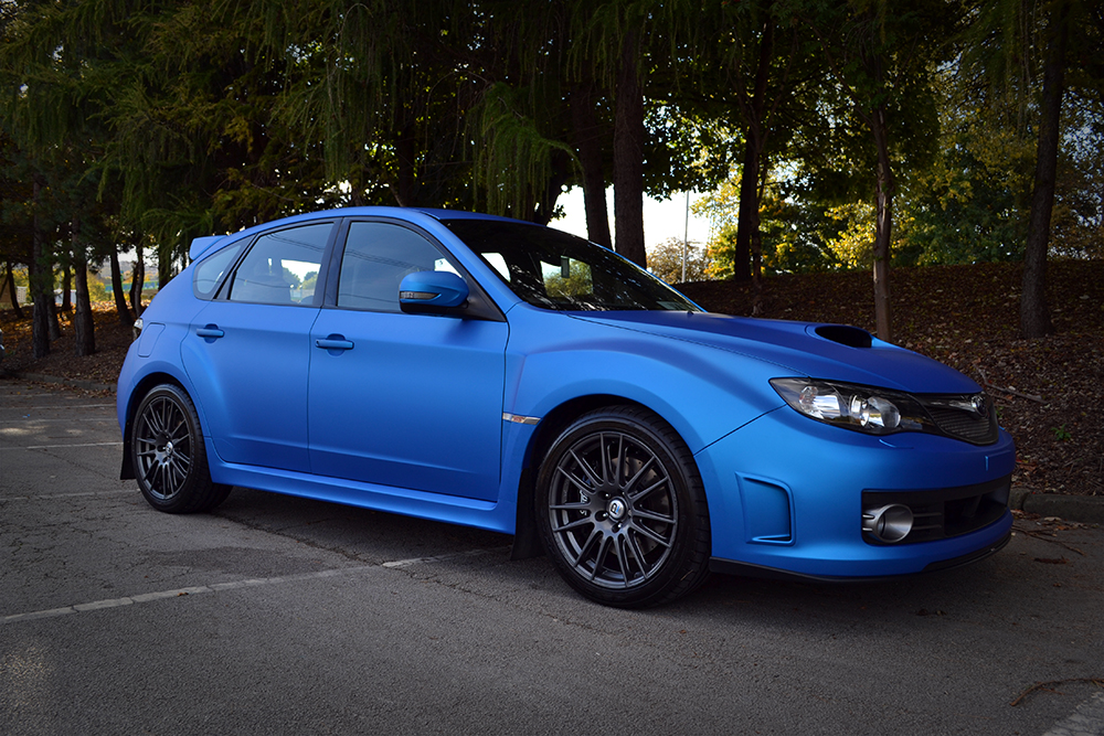 Subaru Impreza wrapped in Blue Aluminium by Reforma