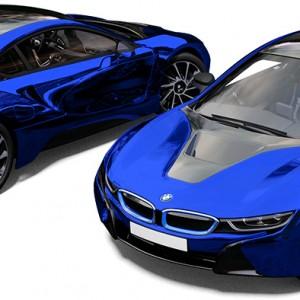 Red Chrome BMW I8 Blue