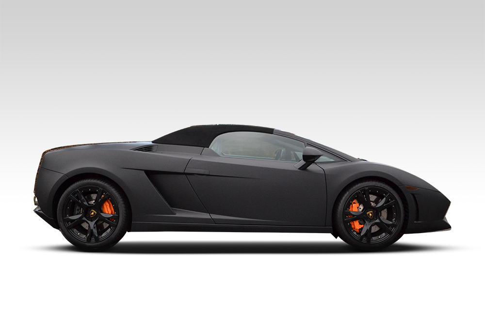 After-Lamborghini Gallardo Wrapped in Matte Black