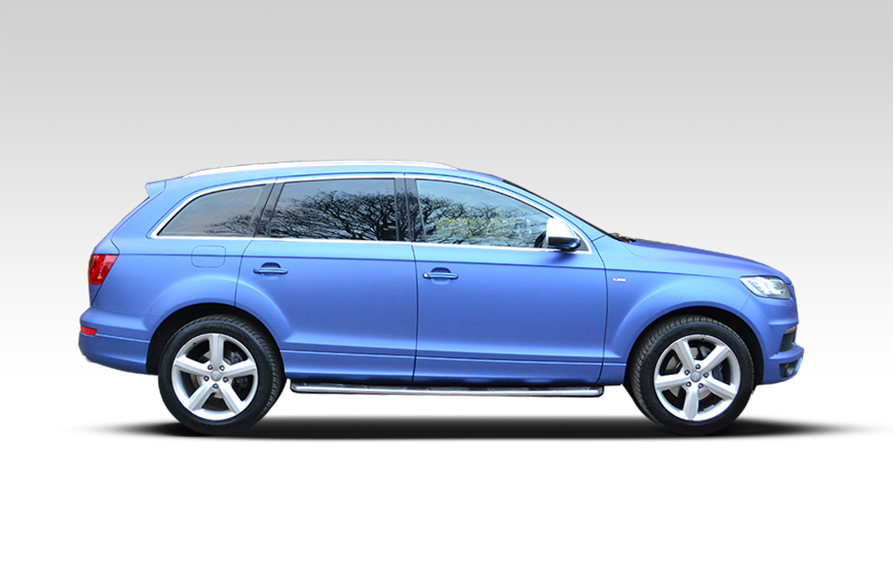 After-Audi Q7 Wrapped Brilliant Blue
