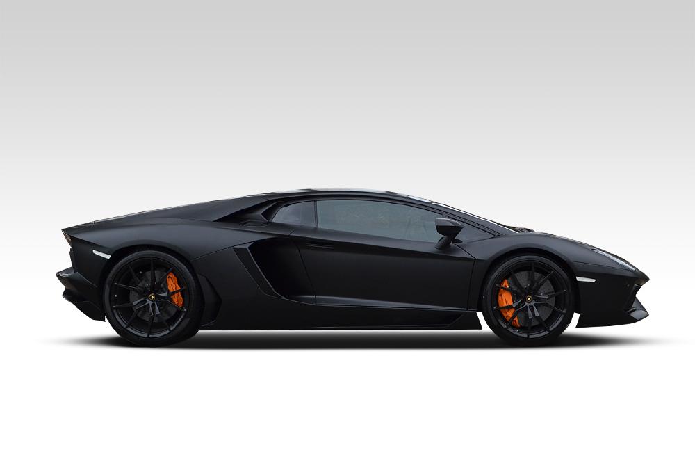 After-Lamborghini Aventador Satin Black Wrap