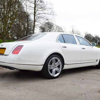 Bentley Mulsanne Wrapped Pearl White Rear