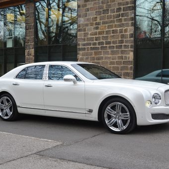 Bentley Mulsanne Wrapped-Pearl White Reflection Yorkshire