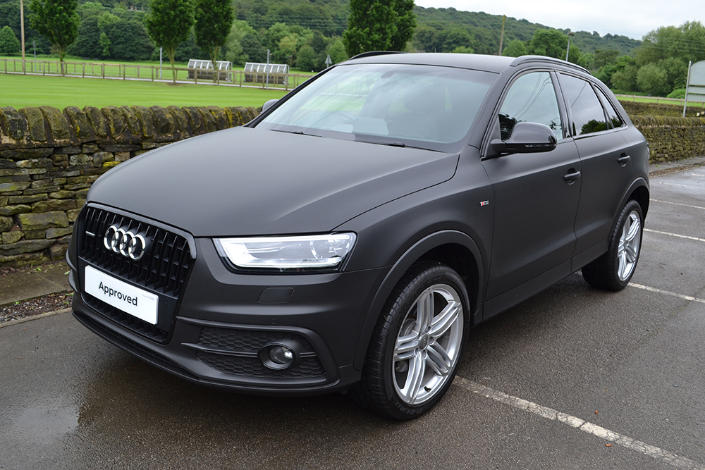 Audi-Q3-Matte-Black-Wrap-Front Paint My Mobile Home Exterior on paint my room, paint my car, paint my teardrop trailer, paint my motorcycle, paint my garage, paint my golf cart,