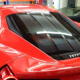 Ferrari 488 Gloss Black Roof Wrap Before