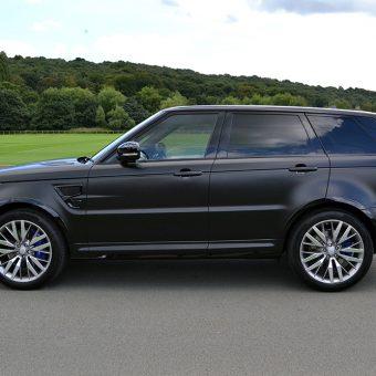 Range Rover Sport SVR Satin Black Wrapped Side View