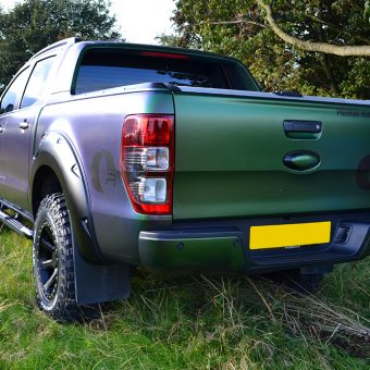 ford raptor wrapped urban jungle rear angle