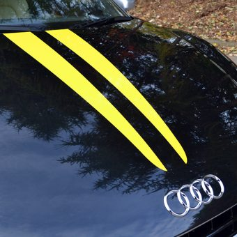 audi r8 yellow stripes bonnet