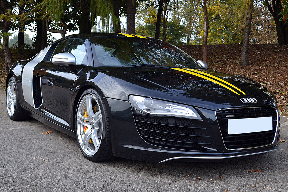 audi r8 yellow stripes front angle