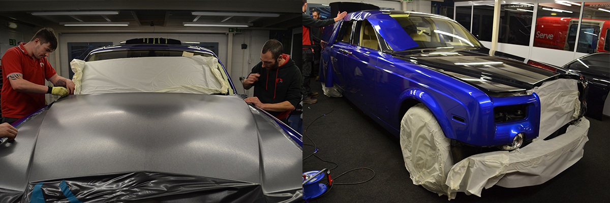 rolls royce phantom cosmic blue wrap progress