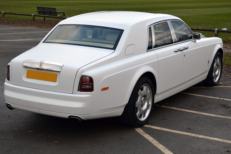 Roll Royce Phantom Satin Vanilla Wrap Rear Angle