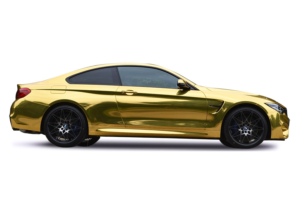 After-BMW M4 Gold Chrome Wrap
