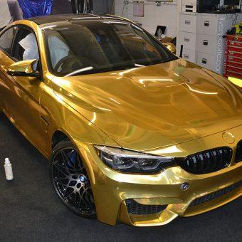 BMW M4 Gold Chrome Wrap Reforma UK