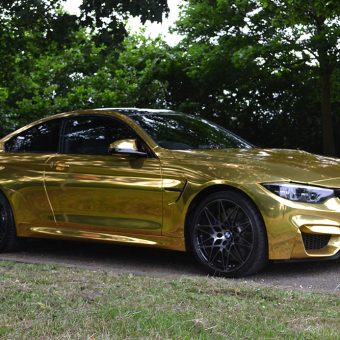 BMW M4 Wrapped Gold Chrome Front Angle
