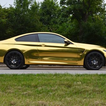 BMW M4 Wrapped Gold Chrome Side