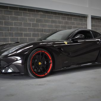 Ferrari F12 Wrapped Ember Black Front Angle