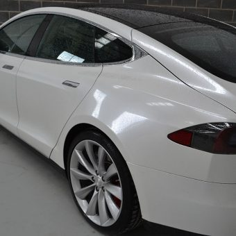 Tesla Model S Gloss Pearl Rear Closeup
