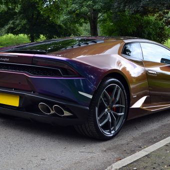 Lamborghini Huracan Wrapped Rushing Riptide Rear