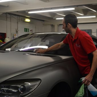 Mercedes CL63 AMG Wrapped Matte Grey Ben Cleaning