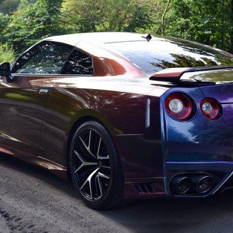 Nissan GTR Wrap Rushing Riptide Rear Angled