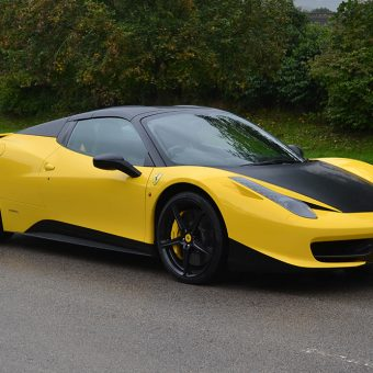 Ferrari 458 Yellow Roof Wrap Details Front Angled