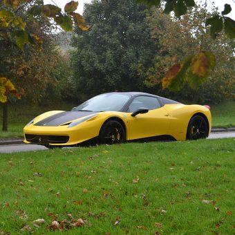 Ferrari 458 Yellow Roof Wrap Front