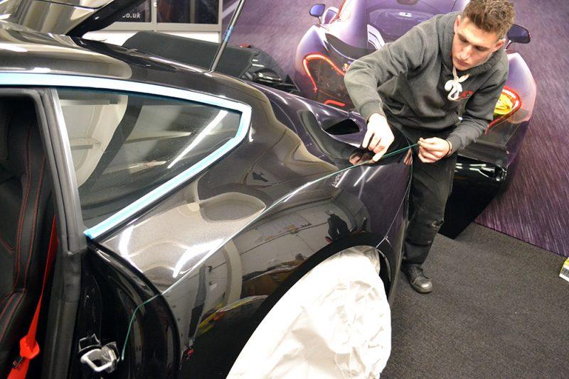 Kahn Ferrari F12 Satin Black Detailing Brad Cut Tape Reforma UK Baildon