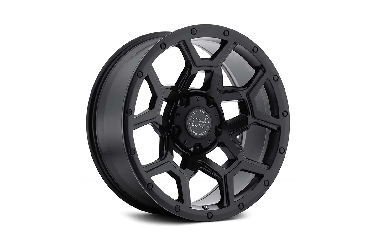"""<h3></noscript>20"""" Black Rhino Overland in Matte Black Finish</h3><p>One of the most sporty in Black Rhinos selection of off-road wheels, is the 20″ Overland. An intricate five spoke design, which is integrated with an outer bolted lip, enhancing the aesthetic of the wheel.</p><h4>from <span>£1340</span><br />inc. VAT</h4>"""