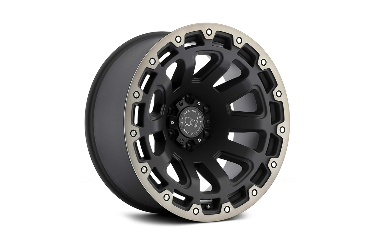 """<h3></noscript>20"""" Black Rhino Razorback Matte Black Dark Tint Edge</h3><p>One of the newest in Black Rhinos selection of off-road wheels, is the 20″ Razorback. This imposing matte black wheel shows a tough style with its mechanically chiselled lip.</p><h4>from <span>£1340</span><br />inc. VAT</h4>"""