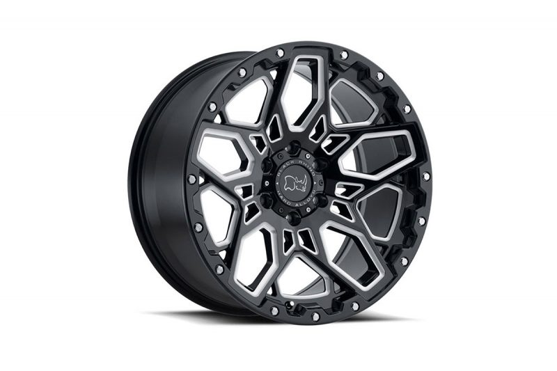 """<h3></noscript>20"""" Black Rhino Shrapnel in Gloss Black/ Diamond Turned Finish</h3><p>One of the most aggressive in Black Rhinos selection of off-road wheels, is the 20″ Shrapnel. A sharp and detailed design, with the perfect contrast between the gloss black and jewelled diamond turned finish.</p><h4>from <span>£1340</span><br />inc. VAT</h4>"""